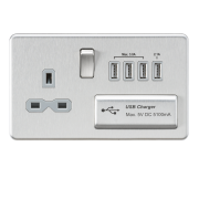 Knightsbridge Screwless 13A Switched Socket With Quad USB Charger - Brushed Chrome With Grey Insert, SFR7USB4BCG