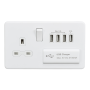 Knightsbridge Screwless 13A Switched Socket With Quad USB Charger - Matt White, SFR7USB4MW