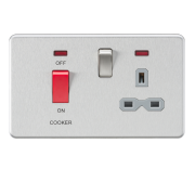Knightsbridge Screwless 45A DP Switch And 13A Switched Socket With Neon's - Brushed Chrome With Grey Insert, SFR8333NBCG