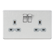 Knightsbridge Screwless 13A 2 Gang DP Switched Socket - Brushed Chrome With Grey Insert, SFR9000BCG
