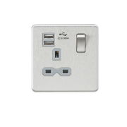 Knightsbridge Screwless 13A 1 Gang Switched Socket With Dual USB Charger - Brushed Chrome With Grey Insert, SFR9901BCG