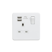 Knightsbridge Screwless 13A 1 Gang Switched Socket With Dual USB Charger - Matt White, SFR9901MW