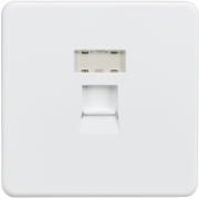 Knightsbridge Screwless RJ45 Network Outlet - Matt White, SFRJ45MW