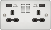 FLAT PLATE 13A 2G SWITCHED SOCKET WITH DUAL USB CHARGER - POLISHED CHROME WITH BLACK INSERT