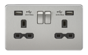 SCREWLESS 13A 2G SWITCHED SOCKET WITH DUAL USB CHARGER - BRUSHED CHROME WITH BLACK INSERT
