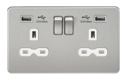 SCREWLESS 13A 2G SWITCHED SOCKET WITH DUAL USB CHARGER - BRUSHED CHROME WITH WHITE INSERT