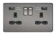 SCREWLESS 13A 2G SWITCHED SOCKET WITH DUAL USB CHARGER - BLACK NICKEL WITH BLACK INSERT