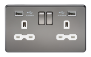 SCREWLESS 13A 2G SWITCHED SOCKET WITH DUAL USB CHARGER - BLACK NICKEL WITH WHITE INSERT