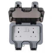 BG Weather Proof 2 Gang DP Switched Socket, WP22