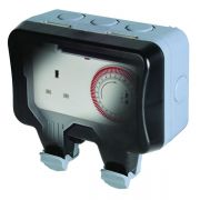 BG Weather Proof Time Controlled 1 Gang Unswitched Socket, WP23TM24